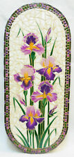 "BEARDED IRIS Mosaic Wall Art Original Handmade Ceramic Stoneware Tile 12"" x 28"""