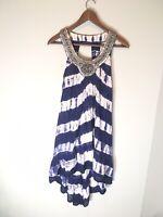 Monsoon Navy & White Striped Beaded Sleeveless Dress Sz Small Tie Die Distressed