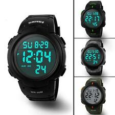 Mens Waterproof Digital Sports Wrist Watch Army Tactical Skmei LED Quartz 5 ATM