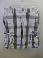 mens sz 31 LEVIS Strauss CARGO UTILITY gray plaid Shorts levi golf board clean