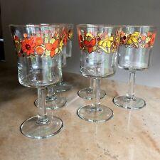 c31566075aae 6 Set 70 s Screen Print STEM WARE Drinking Glasses EUC 6 1 8