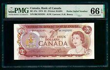 Canada 🇨🇦 1974 - $2 Banknote Radar Serial Number - PMG 66 Gem UNC EPQ