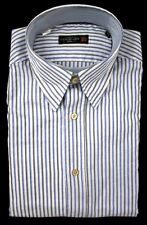 New CORNELIANI ID Blue Gray Striped Cotton Button Down Shirt 15.5 39 M NWT $285!