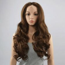 Fluffy Wavy Light Brown Stunning Long Middle Part Lace Front Wig Hair For Women