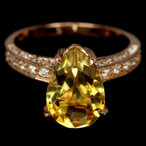 NATURAL AAA ORANGISH YELLOW CITRINE PEAR & WHITE CZ STELRING 925 SILVER RING 7
