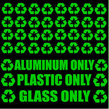 Recycle Logo & Trash Decal Stickers Kit Pack Lot of 35 Green Decals