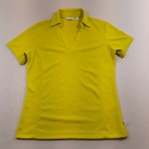 Lady Hagen Essentials Womens Size XS Yellow Green V-Neck Polo Shirt Ladies
