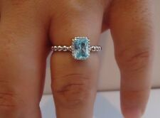 BEADED SHANK SQUARE CENTER RING W/ 2 CT TOPAZ/ 925 STERLING SILVER /SZ 5-9