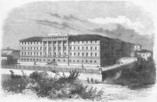 ITALY. New military hospital, Verona, antique print, 1858
