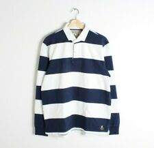 Rugby by Ralph Lauren Mens Blue and White Stripes Rugby Shirt Skull Logo M