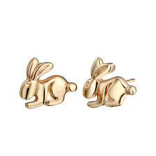 Cute Tiny Silver Gold Color Bunny Stud Earrings Animal Rabbit Children Earrings
