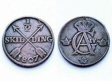 1/2 Skilling 1807 Suède/ Sweden. Gustaf IV°. Cuivre/ Copper