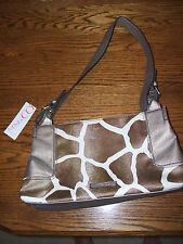 Nine and Co Faux Leather Giraffe Design Handbag Purse Tote -Gold Tan - NEW