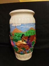 Large decorative ceramic vase With 3D Sculpture very unique!