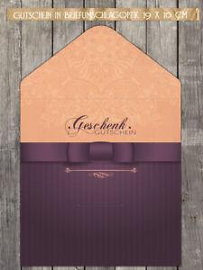 """10 Geschenkgutscheine, Gutschein in Briefumschlagoptik """"purple"""""""