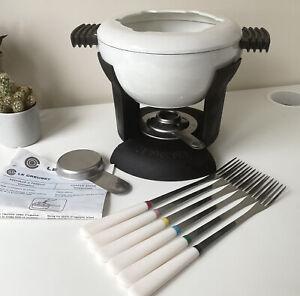 Le Creuset White Cast Iron Fondue Set de Luxe Inc Forks, Burner & Instructions