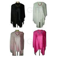 New Womens Lady Winter Warm Cashmere Satin Silk Long Pashmina Shawl Wrap Scarf