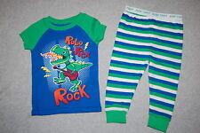 Baby Boys Pajamas ROBO REX ROCK Green Blue Stripe T-REX GUITAR Dinosaur 6-9 MO