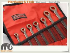 "1/4""-11/16"" 8pc Imperial Ratcheting Ratchet Combination Ring Open Spanner Set"