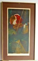 Rare SUNOL ALVAR Signed Limited Edition Lithograph Portrait of Woman with Violin