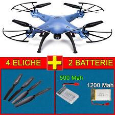 """Drone Quadricottero SYMA X5HW """"AZZURRO"""" 2 Batterie( 1 da 1200 Upgrade) e Ricambi"""