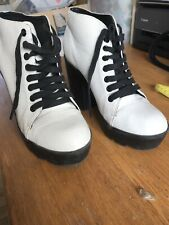 White Size 6 Chunky Platform Ankle Boots Mid Block Heel Casual Lace Up