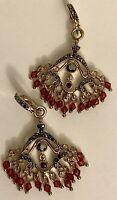 Monet Marcasite & Red Glass Bead Earrings, Chandelier, Vintage, Pierced