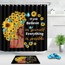 Afro Girl Sunflowers Inspirational Words Black Shower Curtain Set Bathroom Decor