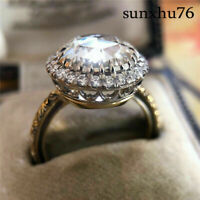 925 Silver Wedding Jewelry Luxury Huge Round White Sapphire Halo Engagement Ring