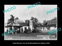 OLD 8x6 HISTORIC PHOTO OF CUBA MISSOURI THE BARNSDALL SERVICE STATION c1940
