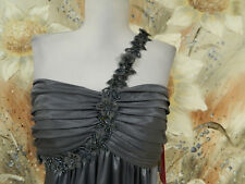 NWT MORGAN & CO. SZ MEDIUM SEXY GRAY PROM PARTY DRESS ONE SHOULDER BEADS/SEQUINS