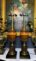 A Pair of Luxurious Neoclassical Polished brass And Wood Urn Table Lamps