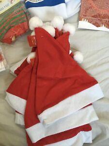 CHRISTMAS HATS 10 SANTA HAT ADULT SIZE FELT FREE POSTAGE