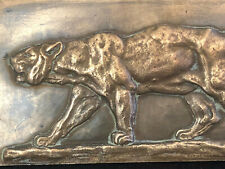 Plaque Bronze Tigre Signée A identifier Antique French Tiger Animalier