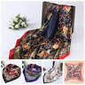"Hijab Scarves Silk-Satin Square Head Scarf Women's Flower Printing 35""x35"" New"