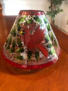 Yankee Candle Jar Shade - Holiday Crackle with Holly and 2 Cardinals