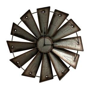"Windmill Wall Clock Farmhouse Western Home Decor Rustic 18.5"" Silver New"