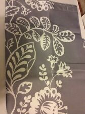 Gray Grey White Floral Leaves Bold Large Print Fabric Shower Curtain NEW