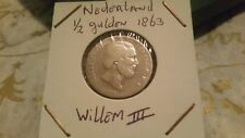 Netherlands 1863 silver 1/2 Gulden 1863 Willem III coin.