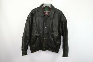 Vtg 90s Streetwear Mens Large Flannel Lined Distressed Leather Motorcycle Jacket