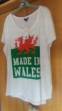 """L@@K F&F NWT SIZE 20 NOVELTY WELSH DRAGON """"MADE IN WALES """" T SHIRT SUMMER HOLS"""