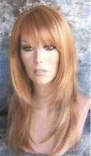 Strawberry Golden Blonde Mix Long Wig Layered Skin Part Bangs Alicia H24/27