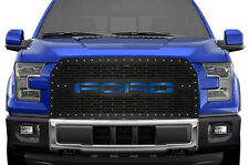 Custom Grille 15-17 Ford F150 Steel Aftermarket Grill Kit BLACK w/ Blue Underlay