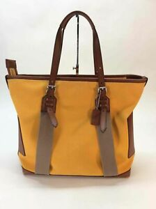 Coach Yellow Brown Canvas Leather Trim Tote Bag