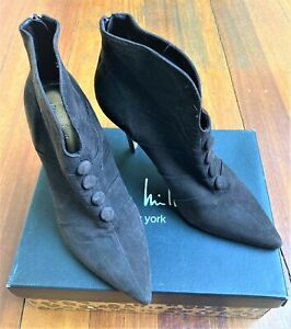 NIcole Miller New York Kid Suede Ankle Boots - Espresso Color