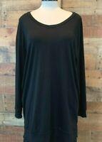 New~ZZER Women's XL Plus Black Long-Sleeve Pockets V-Neck Tunic-Top Shirt Blouse