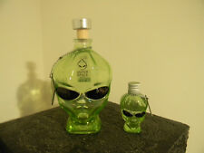 Outer Space Vodka Alien Head Green 2 Bottles 750ml & 50ml + Tags