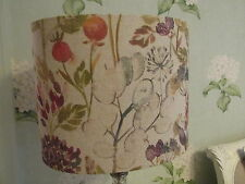 Handmade Oval Drum Lampshade Voyage Hedgerow Linen fabric 30cm