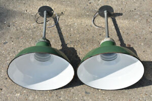 Pair Wheeler Green White Porcelain Pendant Lights Industrial Rewired Farmhouse