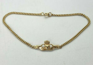 9ct Gold Hallmarked Genuine Irish Claddagh Bracelet.  Goldmine Jewellers.